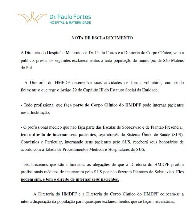Hospital Paulo Forte emitiu nota sobre internamento de pacientes possível de ser feito por médicos