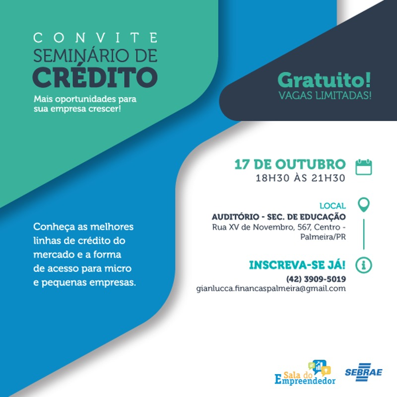 Palmeira realiza seminário de linhas de crédito e formas de acesso para empreendedores