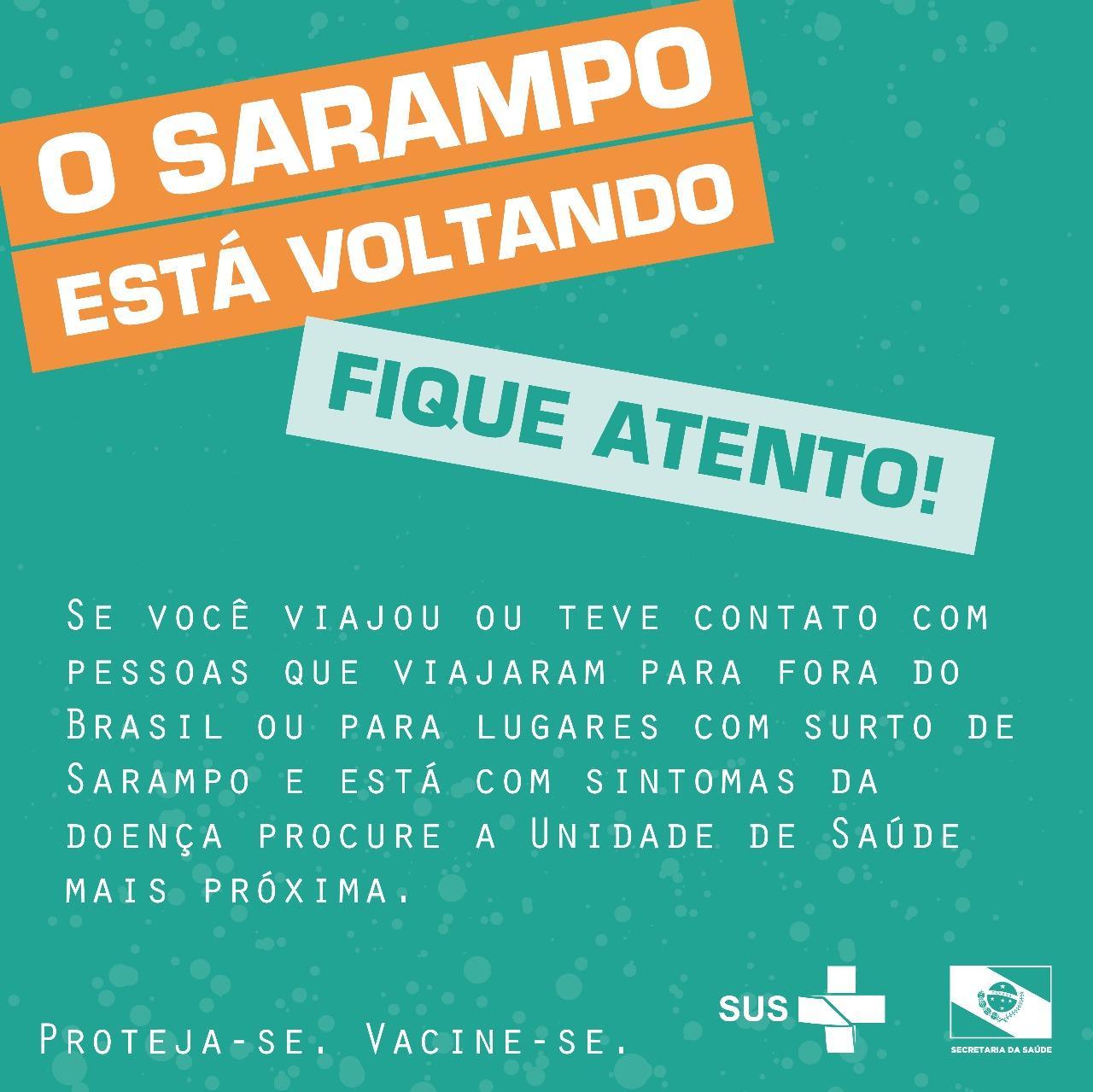 Caso suspeito de Sarampo em União da Vitória pode ter relação com paciente de São Mateus do Sul atendida em Rio Azul