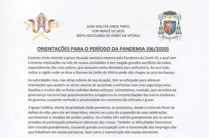 Igreja Católica mantém suspensas celebrações e reuniões públicas em toda Diocese de União da Vitória