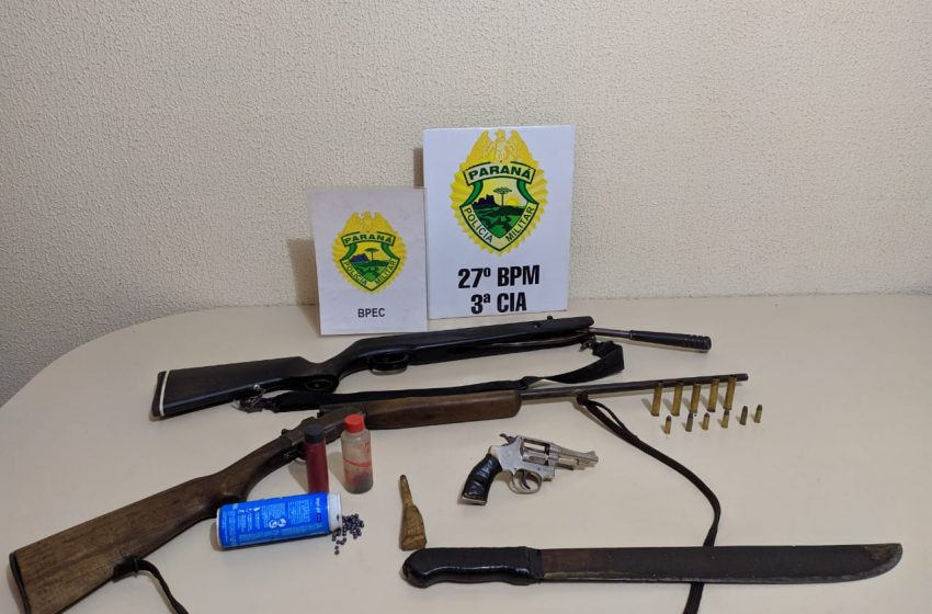 Dois homens são presos e armas são apreendidas em São Mateus do Sul