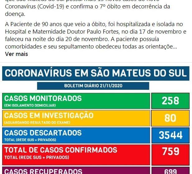 Boletim da prefeitura confirma 7ª morte por Covid-19 em São Mateus do Sul