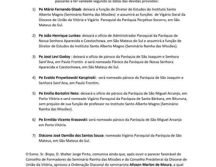 Decisão da Diocese trará mudança de padres em São Mateus do Sul e região