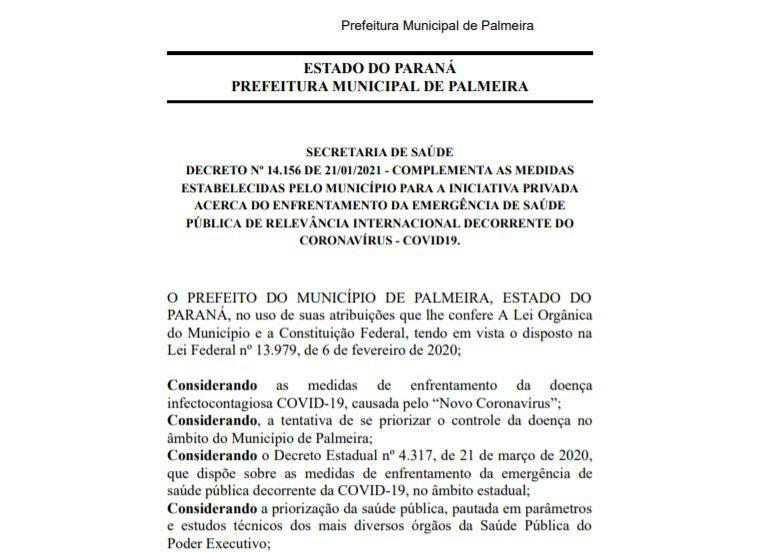 Palmeira publica decreto com novas medidas para o enfrentamento da Covid-19