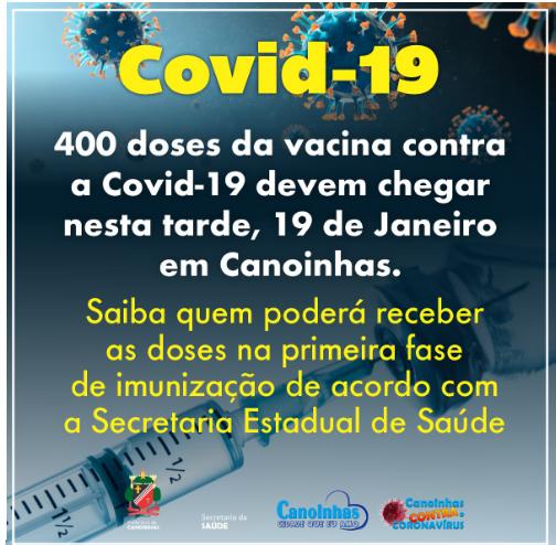 Vacinas contra o Covid chegarão nesta tarde em Canoinhas