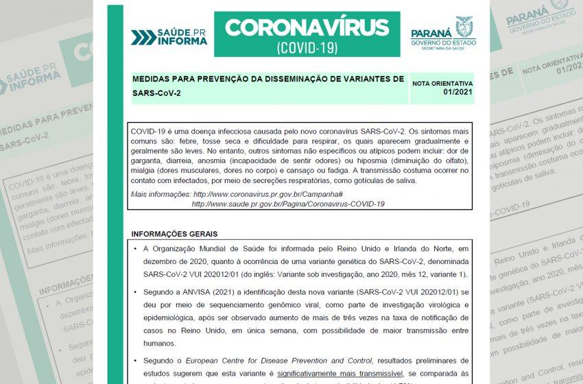 Sesa divulga Nota Orientativa para prevenção da disseminação de variantes do novo coronavírus