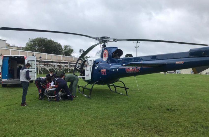 SAMU de São João do Triunfo realiza transferência de helicóptero de gestante em trabalho de parto