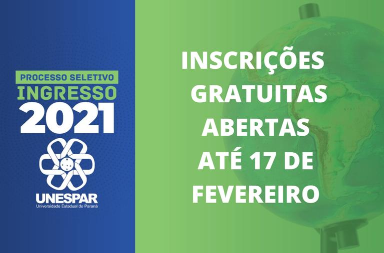 Em 2021 não haverá taxa de inscrição para o processo seletivo na Unespar