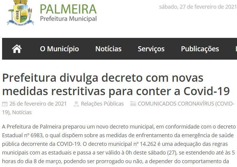 Palmeira decreta novas medidas restritivas para conter a Covid-19
