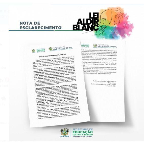 Prefeitura esclarece que 'não há novos cadastros para Lei Aldir Blanc', setor cultural