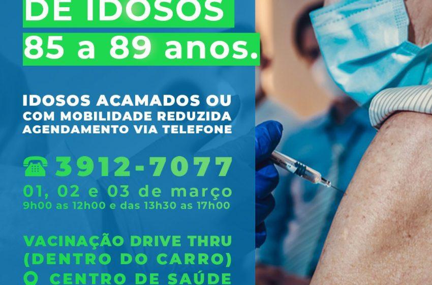 Vacina para pessoas entre 85 e 89 anos inicia na quarta-feira, em São Mateus do Sul