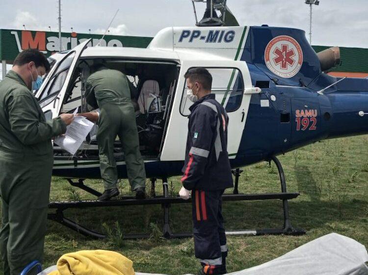 Paciente é transferido de helicóptero em São Mateus do Sul
