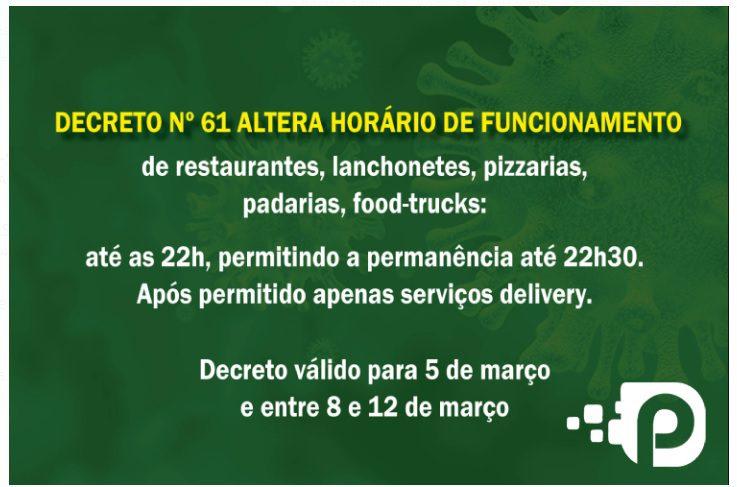 Canoinhas muda Decreto e amplia horário de funcionamento do setor alimentício