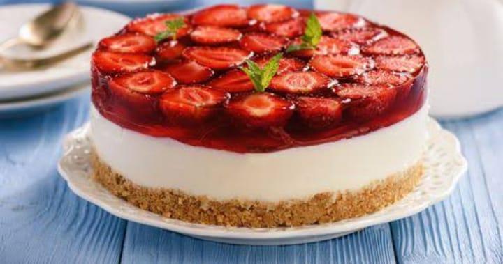 Receita cheesecake de gelatina com morango