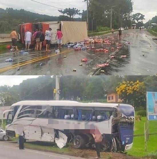 Ônibus que saiu de Porto União com destino a Florianópolis se envolve em acidente