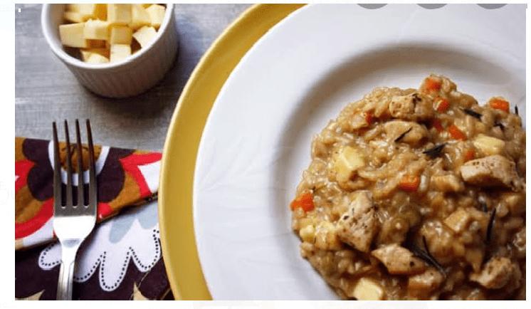 Receita Risoto de frango com queijo coalho