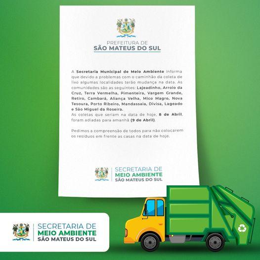Atenção: mudança na data da coleta de lixo