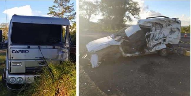 Motorista de fiorino morre após colisão com caminhão na BR 373