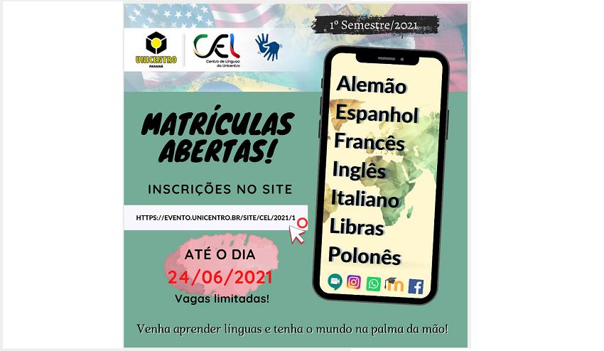 Unicentro oferece curso de línguas com valor baixo e sem custo para CadÚnico