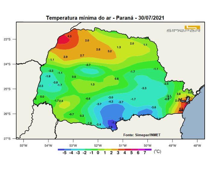 29 municípios paranaenses registraram temperaturas negativas; General Carneio -7,3 °C