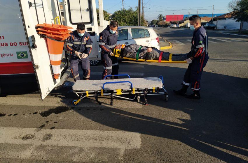Ciclista invade preferencial e é atingido por um carro em São Mateus do Sul
