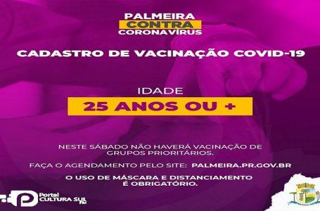 Palmeira tem mais de 100 casos ativos de Covid-19 e agenda vacina acima de 25 anos
