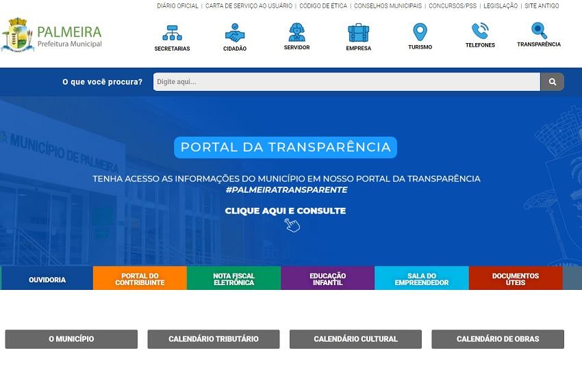 Site da prefeitura de Palmeira passa por reformulação visando facilitar o acesso