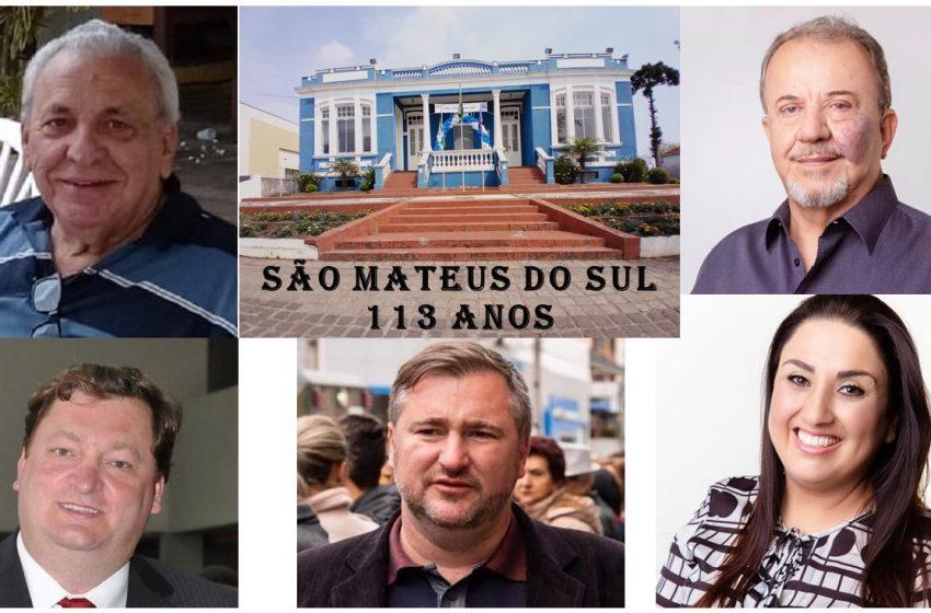 Prefeita, deputado e ex-prefeitos parabenizam São Mateus do Sul pelos seus 113 anos