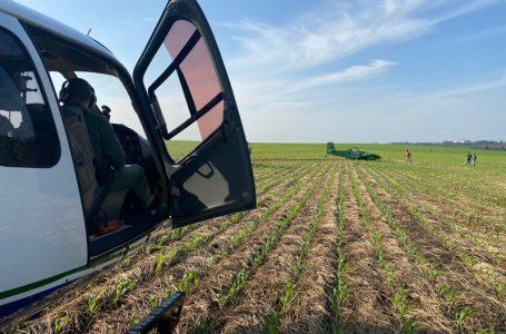 Avião agrícola fica destruído após cair em PG
