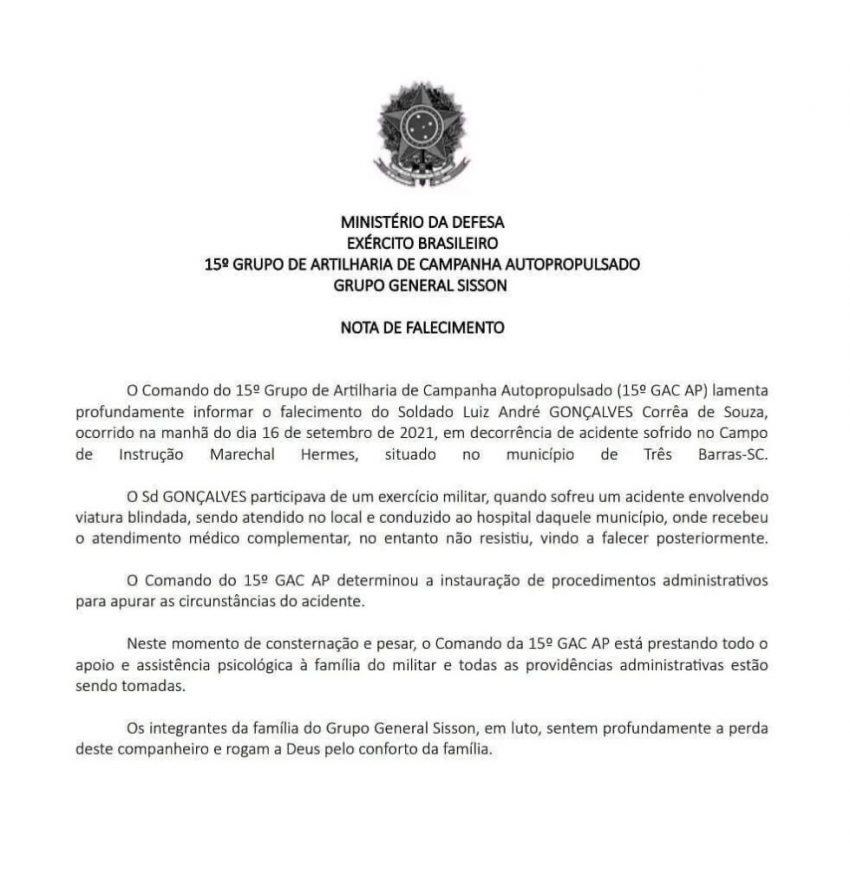 Exército confirma morte de soldado da Lapa num treinamento em Três Barras