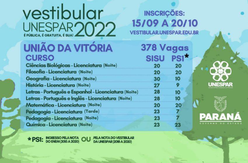 Unespar abre inscrições de Vestibular com 378 vagas em curso para União da Vitória