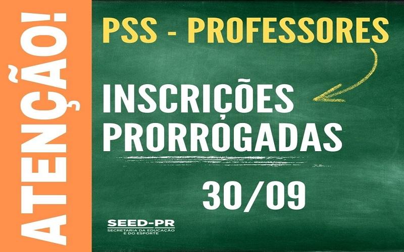 Inscrições prorrogadas no PSS de professores