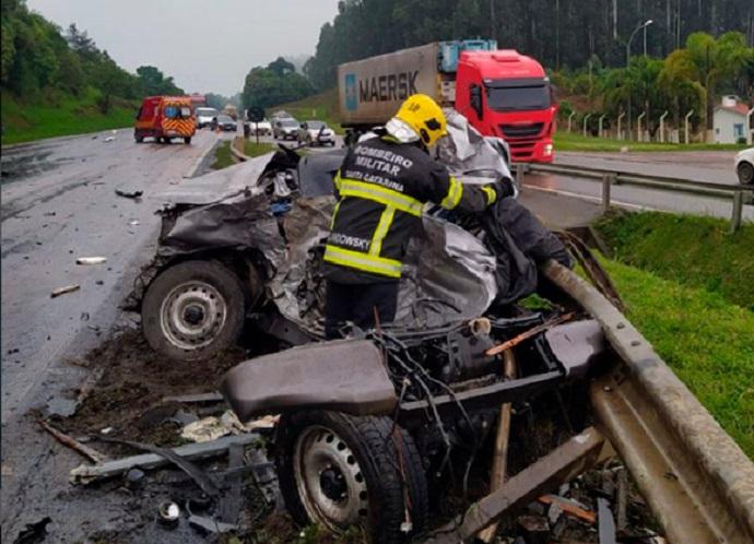 Confirmado um óbito no acidente da BR-116