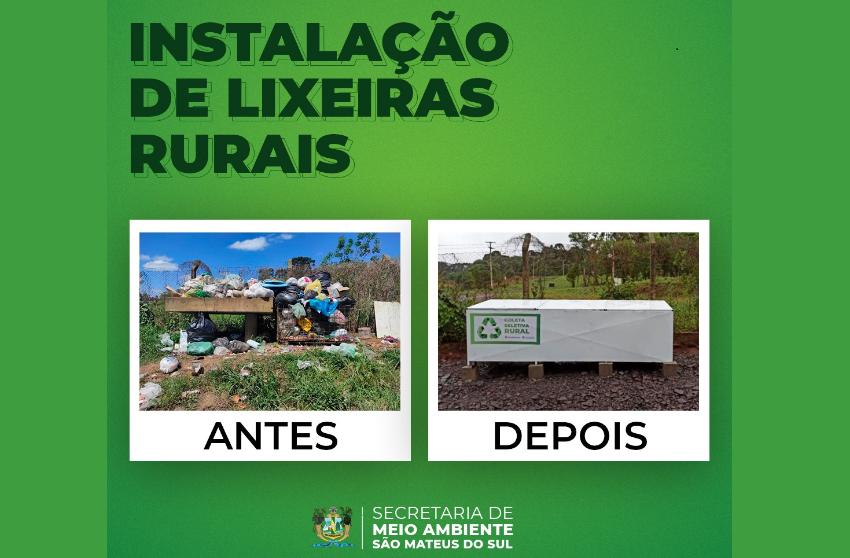 Secretaria de Meio Ambiente instala lixeiras em São Mateus do Sul